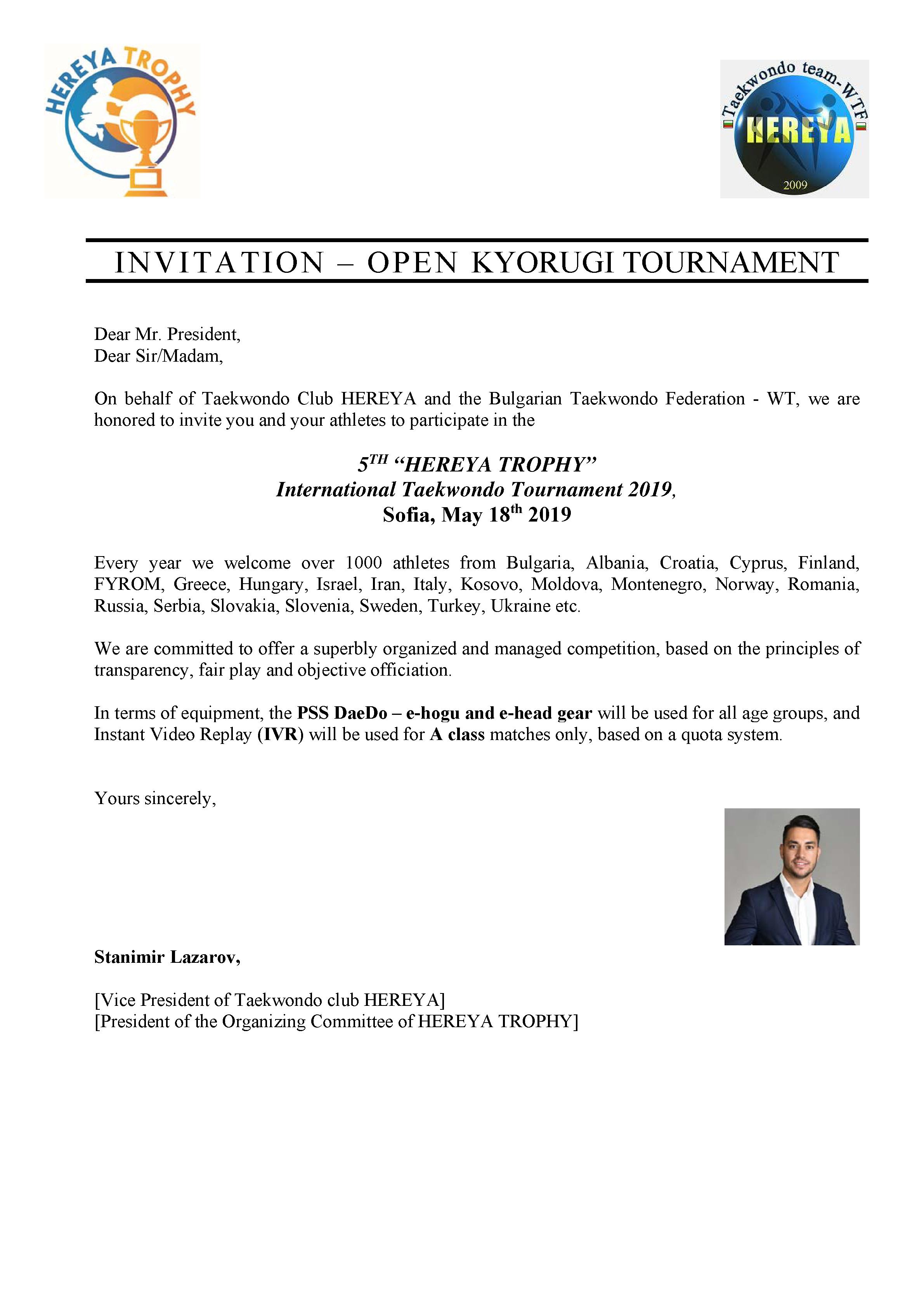 INVITATION – OPEN KYORUGI TOURNAMENT